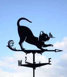 Cat and Butterfly Metal Weathervane Roof Mount Weather Vane Pussy and Flutterby by EasyMetal on Etsy https://www.etsy.com/listing/271869834/cat-and-butterfly-metal-weathervane-roof