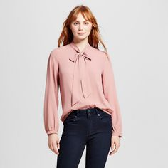 Women's Woven Blouse with Bow Tie Neck Pink M - Mossimo