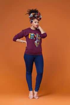 Burgundy African Print Sweatshirt Grass-fields team it up with your sneaks for an effortless daytime look.