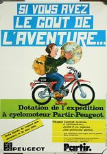 Affiche peugeot expedition cyclomoteur Partir aventure mobylette 1981 moto cycle