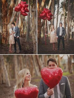 anniversary photos with red heart balloons Wedding Fotos, Wedding Ideias, Wedding Album, Engagement Couple, Engagement Session, Engagement Photos, Engagement Ideas, Engagements, Wedding Trends