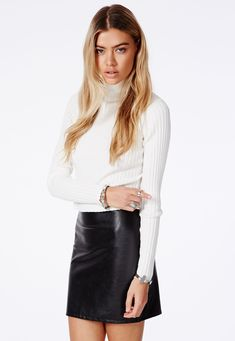 Black Leather Skirt Missguided
