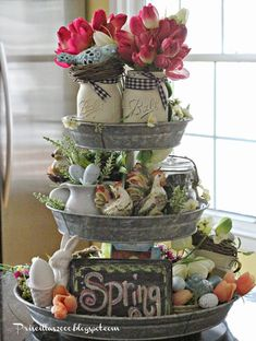 Spring Galvanized Centerpiece - Decorative Tray - Ideas of Decorative Tray - Good morning! It's time for the spring version of the galvanized tiered tray that came from Sam's club last May! Lots of egg Galvanized Tiered Tray, Galvanized Decor, Galvanized Steel, Spring Crafts, Holiday Crafts, Creation Deco, Deco Floral, Spring Home, Early Spring