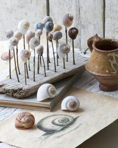 DIY Deko tinker with snail shells summer decor maritime wood planks and chopsticks Casino En Ligne: Wood Crafts, Diy And Crafts, Summer Crafts, Snail Shell, Kids Wood, Shell Art, Shell Crafts, Nature Crafts, Wood Planks
