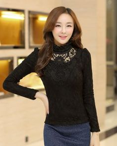 TC001847 Lace thick tops plus velvet spring bottoming shirt