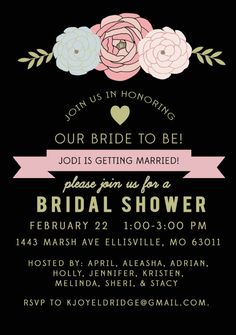 Bridal Shower or Bachelorette Invite by kjoyeldridge on Etsy