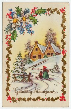 Postcards - Greetings & Congrads #  562 - Happy New Year - Winter Scene