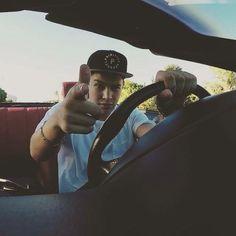 Austin Mahone in his car