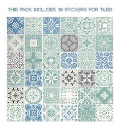 Pastel Azul Pegatinas de Azulejo (paquete 36) Este conjunto se compone de 36 pegatinas de azulejos diseños que se pueden adjuntar fácilmente. Diseñado par