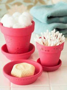 I've been wanting to SPRUCE up my bathroom with flare, but on a budget and now this has given me a way and idea to be able to just that. I can find these potter's at any dollar store and buy some paint at a craft store, I can SPRUCE up my bathroom all under a few bucks...can't wait! When we moved in the color's on the walls were/are: peach tone on walls with slate grey tile flooring (its very neutral-not loving it).. So lavender on the walls to go with the slate grey tiles on the floor.