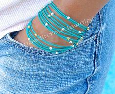 Silver and Gold Boho LEATHER Wrap Bracelet   by WrappedinYou