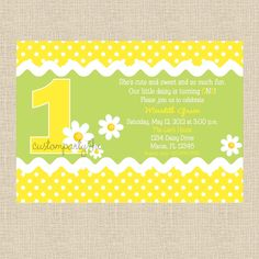 Daisy Birthday Party Invitation - Set of 12. $20.00, via Etsy.