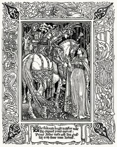 The Redcrosse Knight is captive made   By gyaunt proud opprest    Walter Crane, from Spenser's faerie queene vol. 1, by Edmund Spenser, London, 1895.
