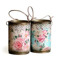 Ideas To Decoupage Tin Can Planters Amazing Ideas To Decoupage Tin Can Planters Tin Can Crafts, Easy Crafts, Diy And Crafts, Easy Diy, Owl Crafts, Decoupage Tins, Decoupage Vintage, Napkin Decoupage, Tin Can Art