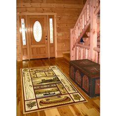 Rustic Lodge Bear Moose Deer Cabin Multi Black Area Rug (5'3 x 7'3) | Overstock.com Shopping - The Best Deals on 5x8 - 6x9 Rugs