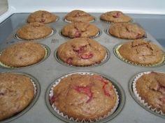 Whole Wheat Banana Strawberry Muffins