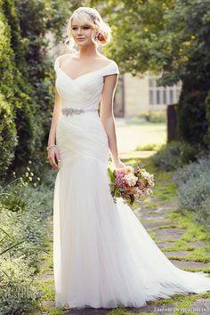 essense of australia wedding dress 2015 bridal cap sleeves off the shoulder neckline tulle trumpet gown d1802 #bridal #wedding #weddings #weddingdress #weddinggown