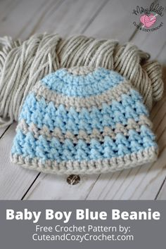 The Baby Boy Blue Beanie is a beginner crochet pattern perfect for any baby. It uses the cross double crochet stitch pattern and is worked in rounds. Free pattern comes in sizes from newborn to 1 year old. Crochet Baby Hats Free Pattern, Crochet Baby Boy Hat, Crochet Hats For Boys, Newborn Crochet, Crochet Baby Booties, Crocheted Baby Hats, Crochet Ideas, Baby Knitting, Free Crochet
