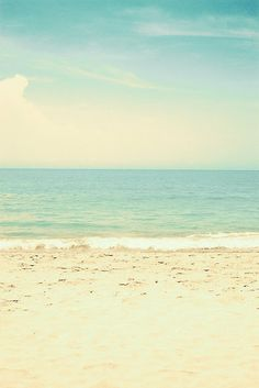 Mint Pastel Pale Blue Beach  by Andreka