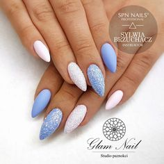 35 Absolutely Gorgeous Almond Shaped Nails is part of Short nails Polish Fingers - Experiment with these beautiful, almond shaped nail designs and find the perfect manicure from simple and minimal to edgy and over the top! Colorful Nail Designs, Nail Art Designs, Winter Nail Designs, Winter Nails, Spring Nails, Summer Nails, Almond Shape Nails, Nagel Gel, Blue Nails