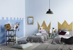 Make a bedroom fit for your prince or princess by painting crown headboards with Tikkurila Taika Gold Pearl Paint