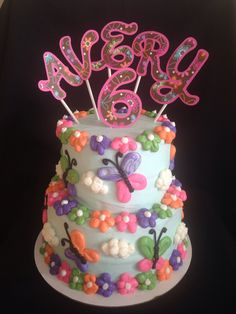 Butterflies and flowers two tiered cake - $75 Cakes By Stephanie, Butterflies, Birthday Cake, Parties, Flowers, Desserts, Food, Fiestas, Tailgate Desserts