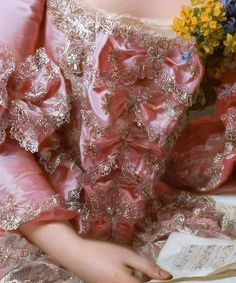 FINE DETAILS This delicate, glittering gown is positively magnificent. Worn by artist Marie-Suzanne Giroust in her 1770 portrait by Alexander Roslin. Renaissance Kunst, Renaissance Paintings, Renaissance Dresses, Princess Aesthetic, Pink Aesthetic, Marie Antoinette, Art Ancien, Rococo Fashion, Aesthetic Painting