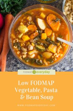 Low FODMAP Vegetable, Pasta & Bean Soup The hearty and nourishing combo of beans and pasta and lots Vegetarian Recipes, Healthy Recipes, Vegan Vegetarian, Vegetarian Italian, Vegan Meals, Beef Recipes, Soup Recipes, Dinner Recipes, Low Fodmap Vegetables