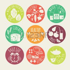 illustration of Healthy lifestyle icon set Stock Vector