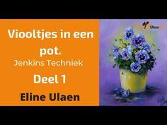 Viooltjes in een pot, Deel 1. Jenkins Techniek, door Eline Ulaen Gary Jenkins, Painting Workshop, Paint Background, Bob Ross, Painting Tutorials, Learn To Paint, Oil, Make It Yourself, Violets