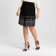 Add a touch of luxe to your look with the Women's Rayon Gauze Skirt with Front and Back Embroidery by Knox Rose™. The soft swing of this women's bodre pleat skirt gives you a boost.