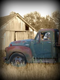 Old Truck  Barn.  Cousins, siblings, we had to share the cab with bees but we sure did some big driving. Sweet memories.