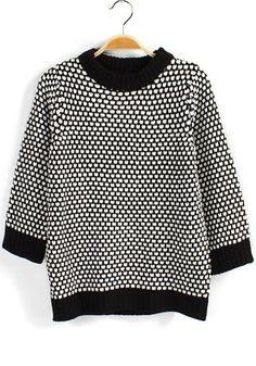 / Black Plaid Half Sleeve Loose Cotton Blend Sweater