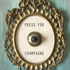 PRESS FOR CHAMPAGNE Framed Vintage Button from Lisa Golightly for $45 on Square Market