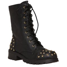 Black And Gold Stud Combat Boot   Hot Topic ($13) ❤ liked on Polyvore featuring shoes, boots, ankle booties, army combat boots, combat boots, military combat boots, studded military boots and studded booties