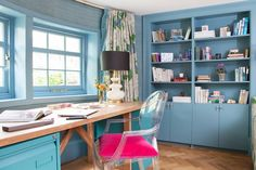 Have fun and be practical for your home office decor because a great layout, best furniture, and dazzling decoration can elevate your working mood. Blue Home Offices, Large Sofa Bed, Butler, Home Office Decor, Home Decor, Office Ideas, Desk Office, Office Chic, Office Designs