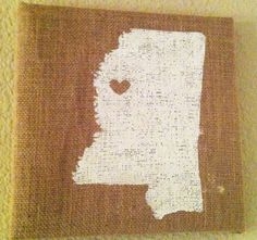 Burlap Home State by TexsippianGifts on Etsy, $30.00. Great gift!