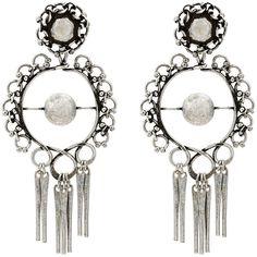 Dannijo hoop earrings with tassels (1,220 SAR) ❤ liked on Polyvore featuring jewelry, earrings, metallic, metal hoop earrings, silvertone earrings, fringe tassel earrings, metal jewellery and tassel jewelry
