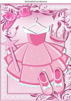 Pink princess party dress with tiara and wand A4 on Craftsuprint - Add To Basket!