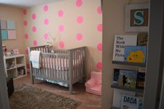Hot Pink Dots Accent Wall in the Nursery - adorable!
