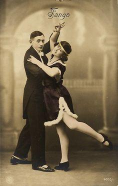 Tango Dance old postcard