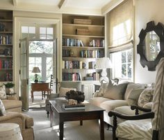 Absolutely stunning! Muted, but marvelous. Floor to ceiling bookshelves flanking the large, french doors, tray ceilings. Heaven....