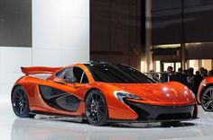 2014 McLaren P1 supercar concept - front three-quarter view on show stand