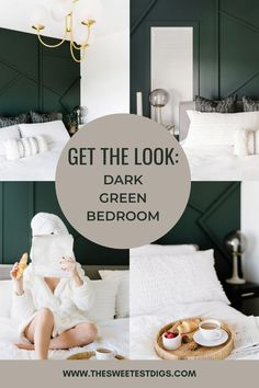 Thinking about doing a dramatic dark green bedroom? This dark bedroom aesthetic has the right touch of accents and color to highlight any minimalist decor. The major focal point in this room is the incredible geometric moulding applied to the walls, which are then painted in a deep forest green. Get inspired for your own bedroom transformation with these architectural details and ideas. Cozy Home Decorating, Decorating On A Budget, Living Room Decor, Bedroom Decor, Deep Forest, Bedroom Green, White Bedding, Moulding, Minimalist Decor