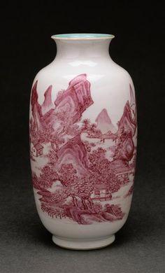 Vase à décor de paysage  Collection Ernest Grandidier  (C) RMN-Grand Palais (musée Guimet, Paris) / Thierry Ollivier  règne de Qianlong (1736-1795)  famille rose , porcelaine  Chine