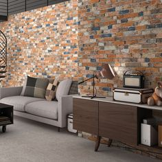 Vintage multi brick slips used on kitchen feature wall to for Vintage loft millhouse