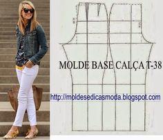 MOLDE BASE DE CALÇA CLÁSSICA TAMANHO 38 Molde Base fundamental aos profissionais de moda. Com esta base consegue modelar todo o tipo de calças. Guarde ou s