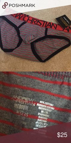 Andrew Christian briefs Red and grey striped. New with tags! Andrew Christian Underwear & Socks Briefs