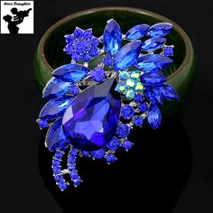 Fashion Water Drop Blue Crystal Brooch Pins for Women Silver Hollow Out Luxury Flower Bouquet Brooch Rhinestone for Wedding Cute #Affiliate