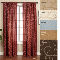 Add some color to your windows with this appealing curtain panel set. This 84-inch window treatment features intricate details on a vivid background. Crafted of 100 percent polyester, it is available in various color options to match your decor.
